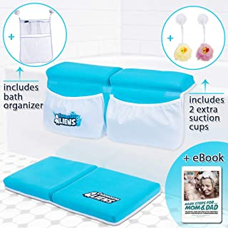 Bath Kneeler and Elbow Rest Thick Pad (XL Pockets) + Bath Toy Organizer | Knee Cushion Mat & Arm Support for Baby and Toddler Bath Time | Bathtub Kneeling | Bath Time Knee Saver | Baby Shower Gift