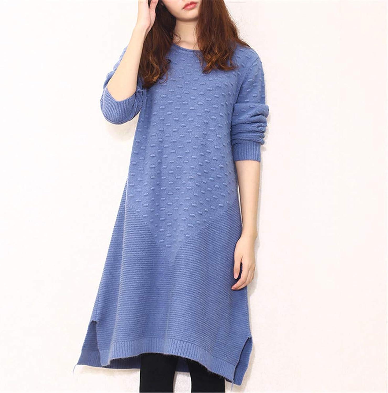 Women's Dress Ladies Casual Long Sleeve Dress Winter Dresses Sweater Plus Size Solid Daily Dress Women's Vintage Dress (color   bluee)