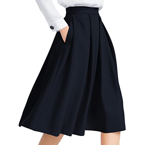 eb670c7c7e12a Yige Women s High Waist Flared Skirt Pleated Midi Skirt with Pocket