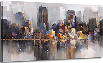 Canvas Wall Art Abstract City Skyline New York Painting Prints Modern Brooklyn Bridge Colorful Cityscape Picture Artworks ...