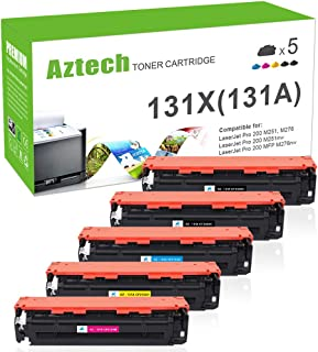 Aztech Compatible Toner Cartridge Replacement for HP 131A 131X CF210X CF210A CF211A CF212A CF213A (Black Cyan Yellow Magenta, 5-Packs)