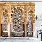 ABAKUHAUS marokkanisch Duschvorhang, Rabat Hassan-Turm, Wasser Blickdicht inkl.12 Ringe Langhaltig Bakterie & Schimmel Resistent, 175 x 200 cm, Aprikose