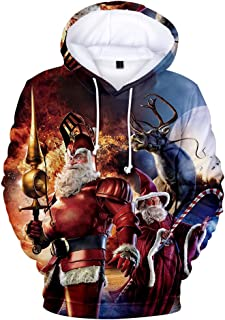 CWSY Christmas Sweater,Men's and Women's Hoodies, 3D Digital Print Sweaters, Adult Children's Pullovers with Pockets