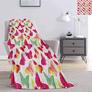 Luoiaax Watercolor Plush Blanket for Bed Couch Butterfly Silhouettes Nature Abstract Ornate Summer Season Illustration Comfortable Soft Warm Large Blanket W51 x L60 Inch Magenta Sea Green