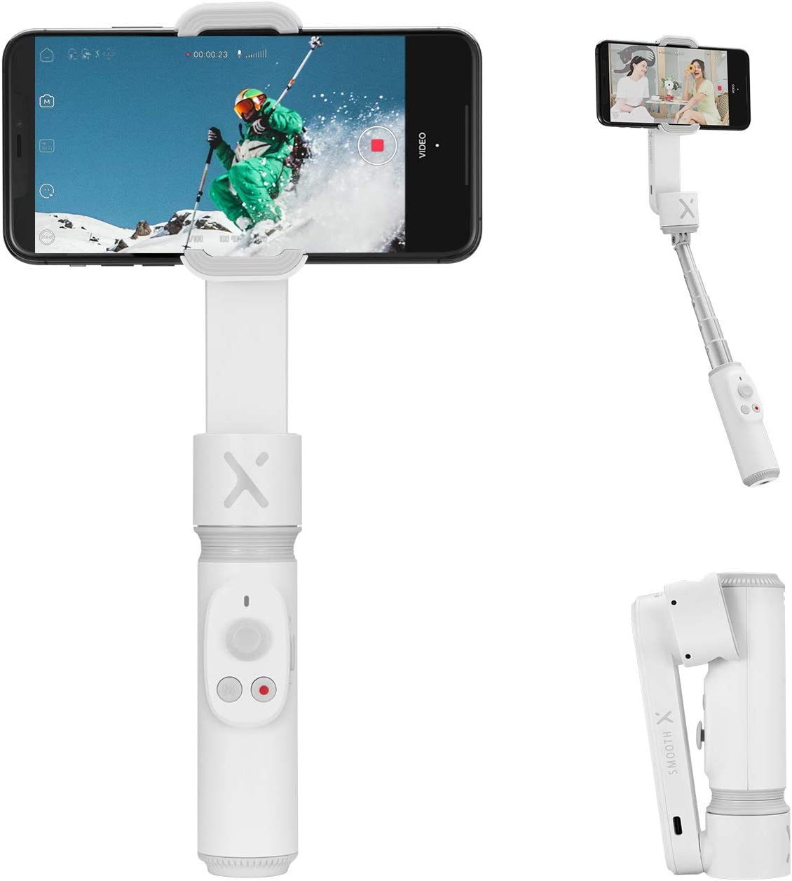 White Zhiyun Smooth Xs Handheld 3-Axis Gimbal Stabilizer for Smartphone Selfie Stick White for Vlog Youtuber