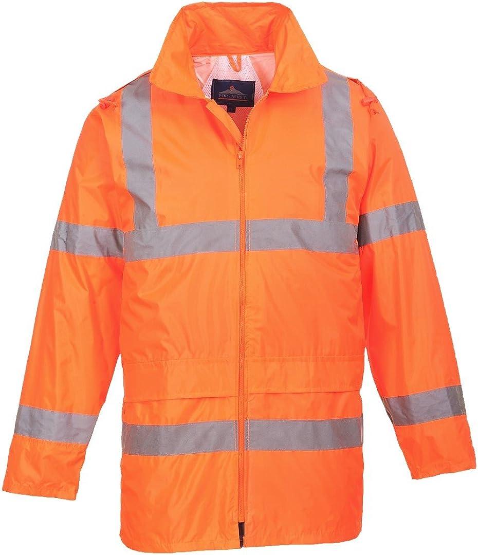 Portwest Workwear Mens Hi-Vis Rain Jacket Orange XL