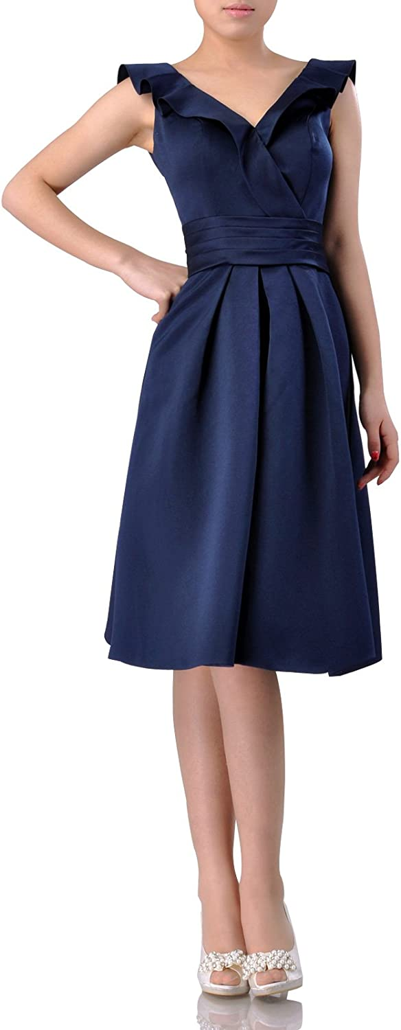 Adgoldna Satin Knee Length Short Sleeves Homecoming Dress with Straps
