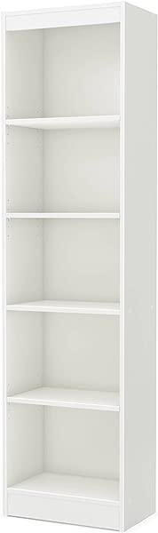 Tall Skinny Bookshelf Pure White 5 Shelf Narrow Bookcase