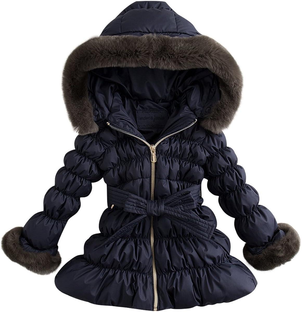 marc janie Little Girls Winter Lightweight Down Jacket with Rabbit Hair Collar Hood Puffer Coat
