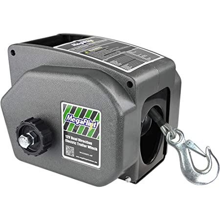 Megaflint Trailer Winch,Reversible Electric Winch, for Boats up to 6000 lbs.12V DC,Power-in, Power-Out, and Freewheel Operations,30% Higher winching Power Than Regular 6000 lbs Winch (5000lbs Marine)
