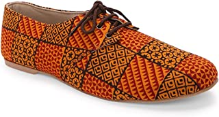 KANVAS Women Ethnic Rustic Orange Oxfords Shoes