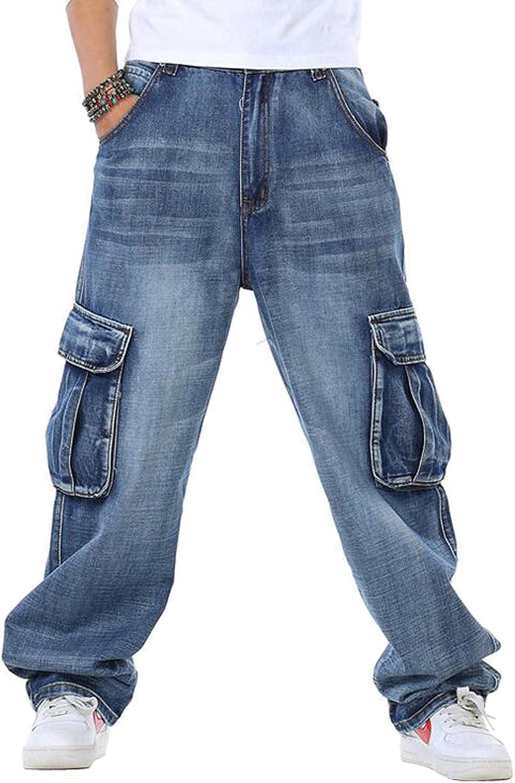 4a6a55547a7 LD Mens Casual Multi-Pockets Loose Wide Leg Leg Leg Denim Jean Pants 3caa58