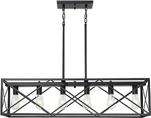 MELUCEE Rustic Black Chandelier for Dining Room 6 Lights, Farmhouse Metal Cross Framed Box Lantern Pendant Lighting for Kitchen Island Pool Table Foyer