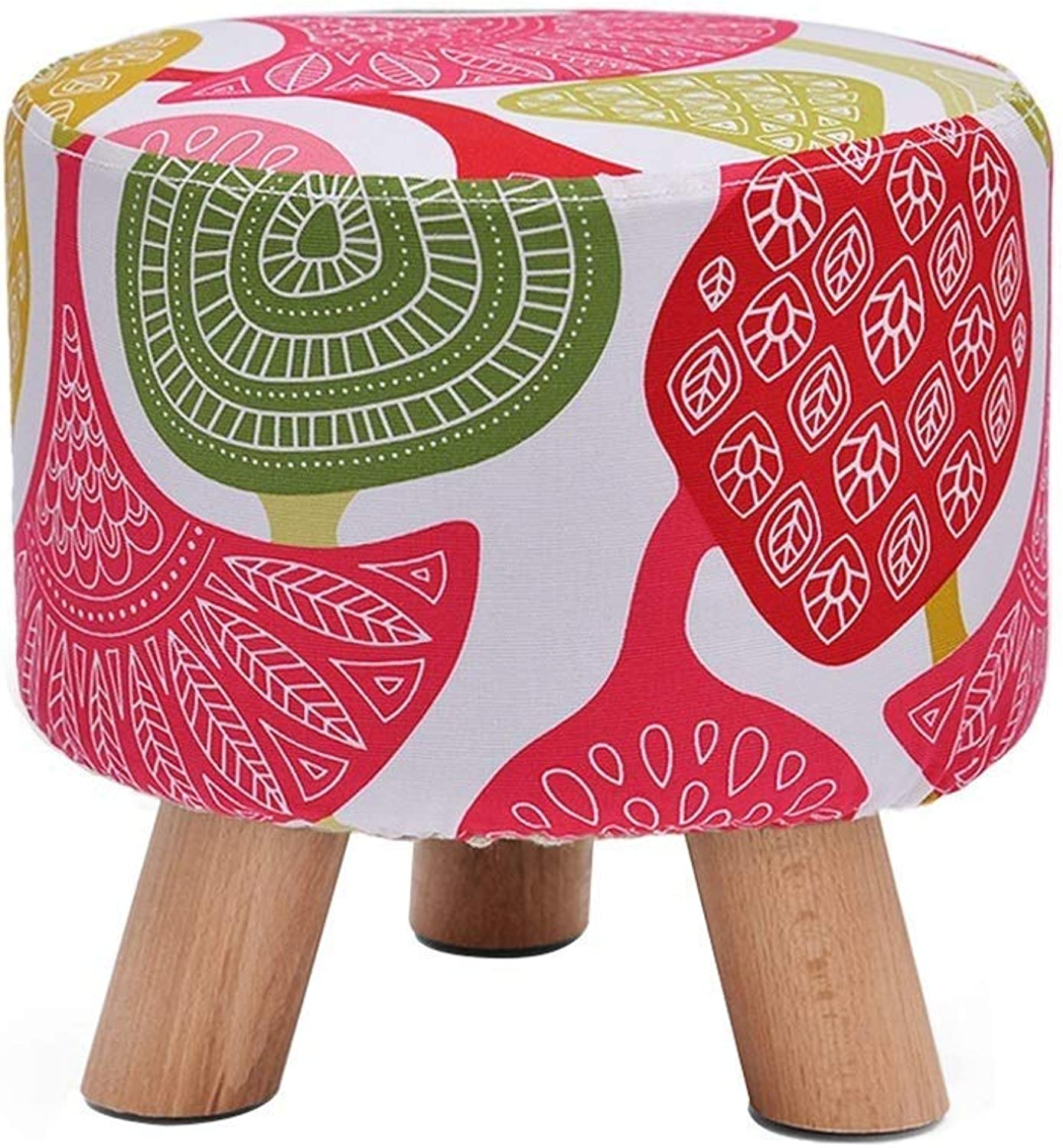 shoes Bench Stool Creative Footstool Small Stool Solid Wood Chair Stool Home Multi-Function LEBAO (color   Printing)
