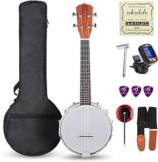Vangoa Banjolele de 4 cuerdas Concierto Banjo Ukulele 58.4cm Sapele Banjos para principiantes con Afinador Bolso Pickup Cuerdas Púas