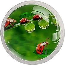 Ladeknoppen Ronde Kristal Glazen Kabinet Handgrepen Trek 4 Pcs,Insect