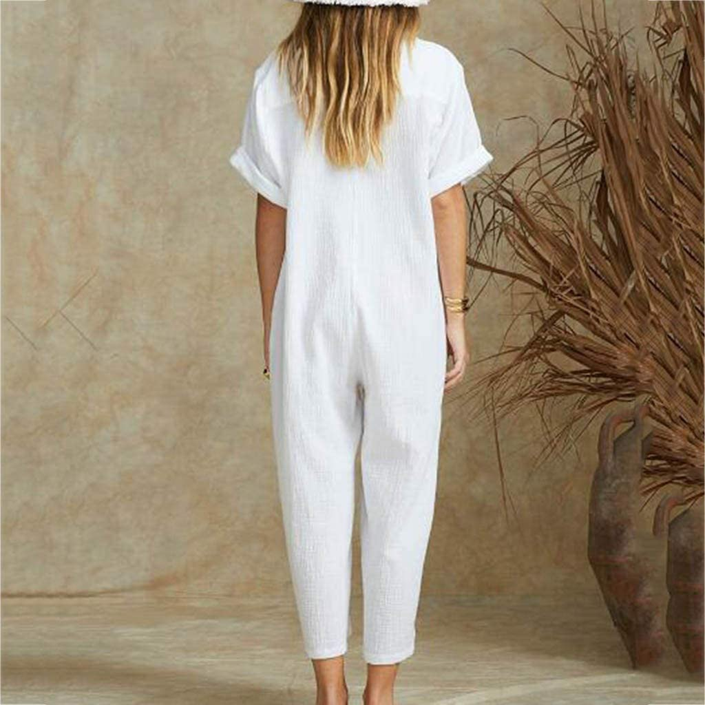 Playsuit Womens Summer Overalls Cotton Casual Loose V Neck Wide Leg Jumpsuits Rompers with Pockets