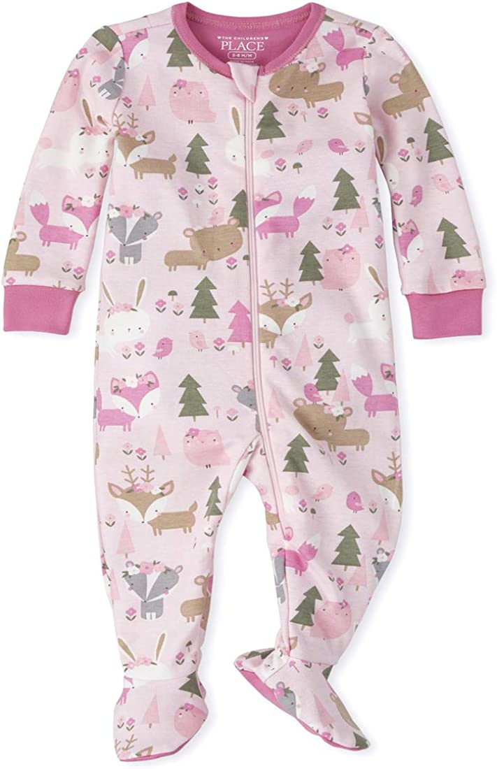 The Children's Place Girls' Baby and Toddler Forest Snug Fit Cotton One Piece Pajamas