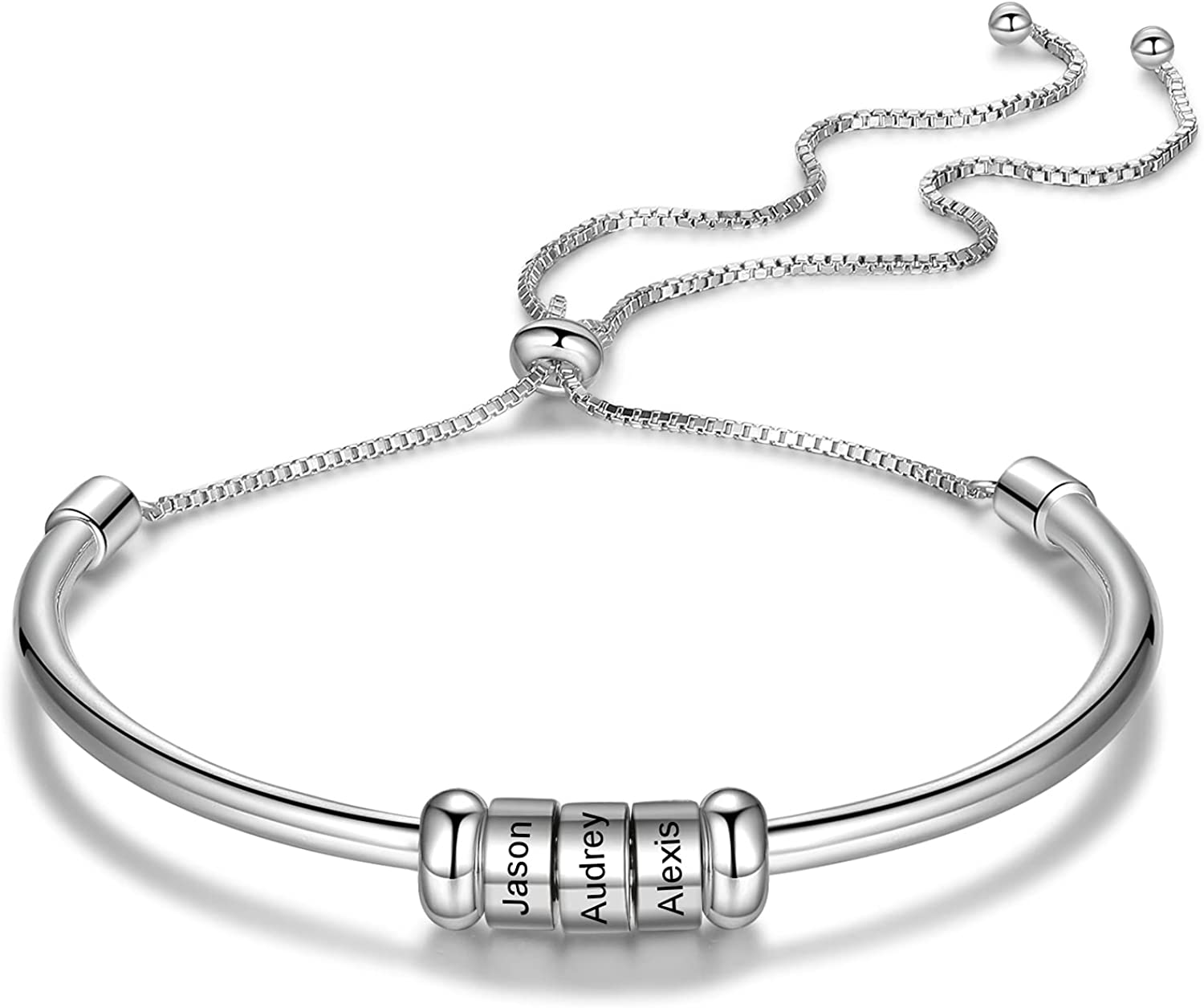 Personalized Name Bracelet Bangle Engraved with 1-6 Names Beads Adjustable Charm Literary Style Snake Chain Link Anniversary Birthday Jewelry Gift for Women Wife Girlfriend