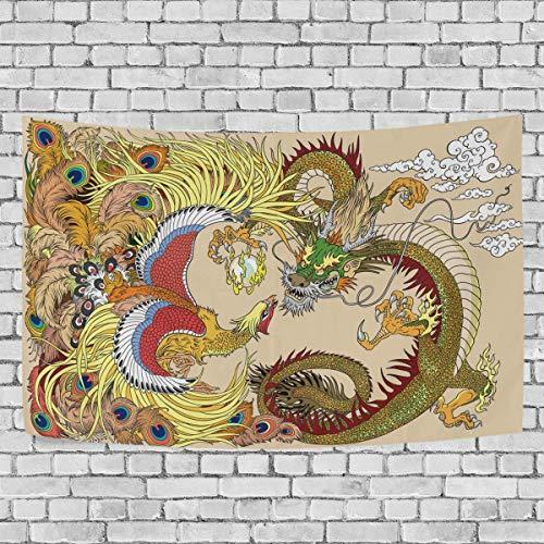 Tapiz para colgar en la pared, dragón chino y fénix jugando con bola de perlas, tapiz artístico para colgar en la pared para sala de estar, dormitorio, decoración del hogar, 60 x 51 pulgadas
