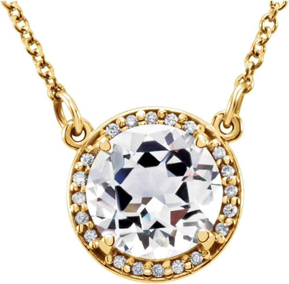 Solitaire 6mm Round Max 48% OFF Diamond Charm Manufacturer OFFicial shop Chain Necklace 16