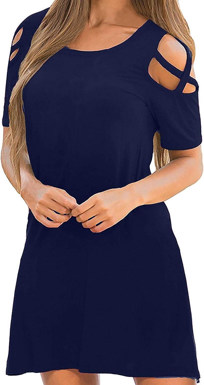 JPVDPA Women's Casual Swing Loose Dress Solid Color O-Neck Dress Short Sleeve Summer Off Shoulder Dress