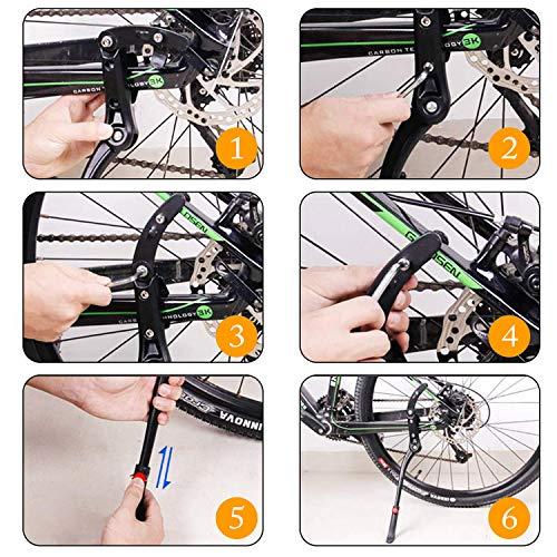 WOTEK Fahrradständer, Seitenständer Fahrrad Universal Aluminiumlegierung Fahrrad Ständer Rutschfester Gummiständer, Mountainbike, Rennrad, Fahrräder und Klapprad, Höhenverstellbar  24-29 Zoll - 6