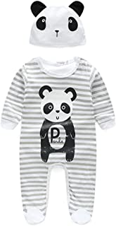 Baby Jumpsuits, Panda Pattern Rompers with Hat Long Sleeve Bodysuits Gray