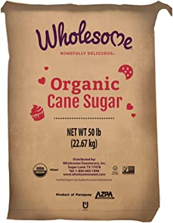 Wholesome Organic Cane Sugar, Non GMO & Gluten Free, 50 Pound (Pack of 1)