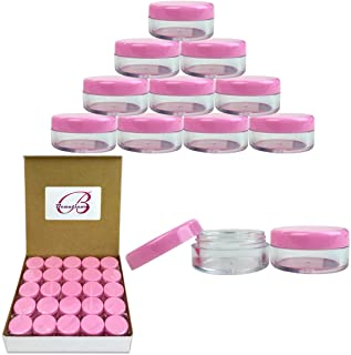 Beauticom 5G/5ML High Quality Clear Plastic Cosmetic Container Jars with PINK Lids, 50 Pcs