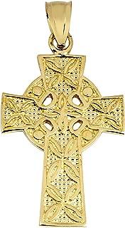 Solid 10k Yellow Gold Irish Celtic Cross Trinity Pendant