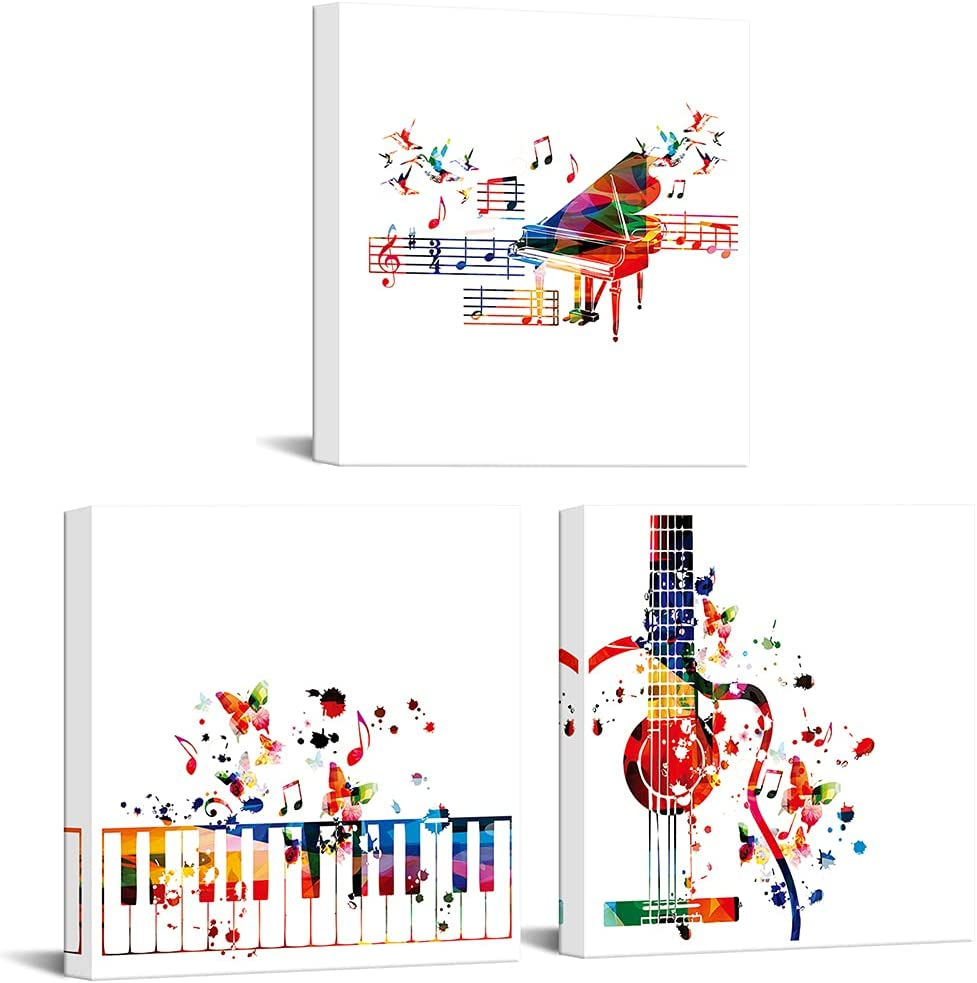 MLOML 3 Panels Musical Melody with Butterflies Canvas Wall Art Watercolor Guitar Piano Poster Vintage Music Instruments Artwork Pictures for Bedroom Office Decor Ready to Hang 12x12inchx3pcs