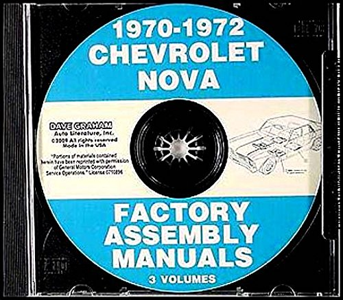 THE ABSOLUTE BEST 1970 1971 1972 CHEVY II & NOVA FACTORY ASSEMBLY INSTRUCTION MANUAL CD IN 5 VOLUMES - INCLUDES 4 cylinder or 6 cylinder engine, including Base Models to Fully-Loaded models, Nova, Super Sport SS. 70 71 72 - CHEVROLET