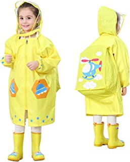 LOHOME Kids Raincoat - Children's Hooded Raincoat Teens Jacket Space Poncho with School Bag Cover Rainwear (M (Fit 3.44~3.94ft Height), Yellow Airplane)
