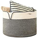 LnH Premium Cotton Rope Basket 21.7' x 21.7' x 17.8' | XL Woven Laundry Basket and Nursery Bin with Handles