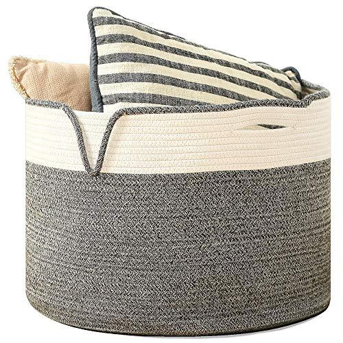 LNH Cesta de Cuerda de algodón Premium de 18.9 x 18.9 x 13.8 Pulgadas | Cesta de lavandería Grande Tejida y cubeta de guardería con Asas
