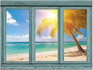 wall26 - A Lone Palm Tree Angles Towards The Sun on a White Sand Beach on a Tropical Location - Wall Mural, Removable Sticker, Home Decor - 36x48 inches