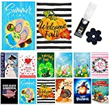 Yileqi Seasonal Garden Flags Set of 12 Double Sided 4th of July Summer Garden Flag Holidays Yard Flags, with Zipper Storage Bag, Festive Small Garden Flag Outdoor Decoration 12.5x18 Inch