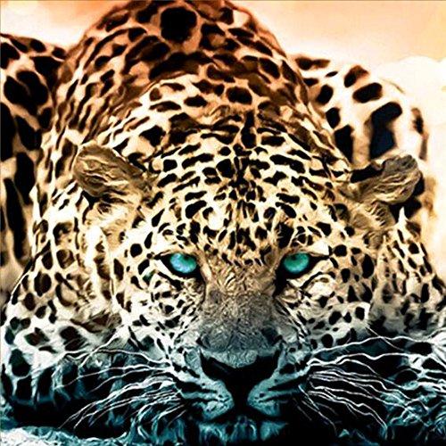 ShuoBeiter 5D Diamante Pintar por número Kits Nuevo DIY para Adultos Punto de Cruz Completo Conjunto de Herramientas Bordado Letras Arte Imagen Suministros Casa Pared Decoración (Leopard)
