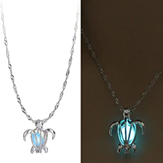 Glow in The Dark Necklace Steampunk Hollow Pendant with Chain for Women Turtle Blue-Green