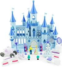 Boley Princess Castle Dollhouse - Small Plastic Doll House Pop-Up Castle Kit with Furniture and Front Lawn Miniatures - 19 Piece Play Set for Girls