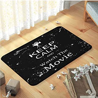 Floor mat Rug, Comfort Underfoot Carpet for Living Room,Children Playroom   Keep Calm Watch The Movie Quote for Film Buffs Grungy Weathered Backdrop with Old Camera Black White W35 x L59
