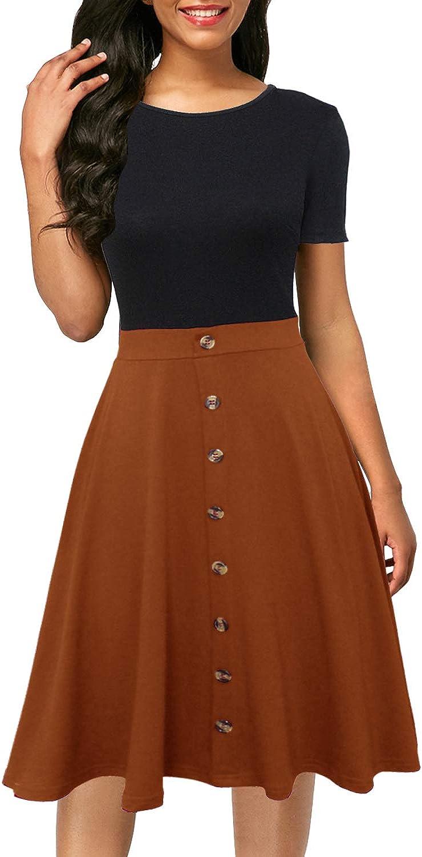 Berydress Women's Short Sleeve Colorblock Button Down Sundress Knee-Length Flared A-Line Casual Party Swing Dress