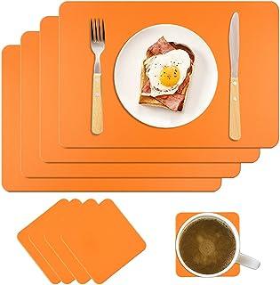 MAOOY Lot de 4 sets de table en cuir synthétique - Lavables - Avec 4 sous-verres carrés - 45 x 30 cm - Pour cuisine, famil...