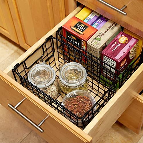 WinDLCP Wire Decorative Baskets - 2Pc - Black Powder Coated Baskets - Pantry Organization Baskets - Dry Erase Labels & Markers - Room Decor - Bathroom, Laundry, Nursery - Modern Farmhouse Wire Baskets