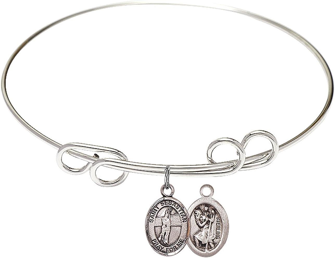 8 half inch Round Double Loop Bangle Bracelet with St. a Sebastian half