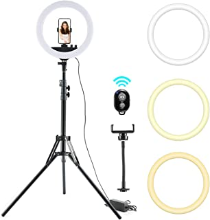 """Keayeo 14"""" Selfie Ring Light with Adjustable Tripod Stand and Phone Holder for Live Stream, Makeup, Dimmable Led Camera Beauty Ringlight for YouTube Video, Photography Compatible for iPhone Android"""