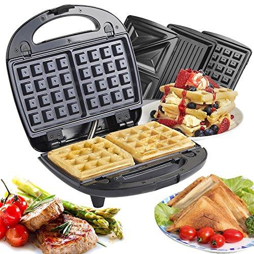 Vinteky® 3 in 1 Multifunktionsgerät Sandwichmaker Waffeleisen Tischgrill abnehmbare Platten-Sets Sandwichtoaster