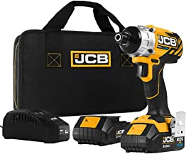 JCB Tools - JCB 20V Cordless Brushless Impact Driver Power Tool - With 2 x 2.0Ah Batteries And Charger - Variable Speed - ...