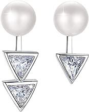 PEARLOVE Womens Pink Cultured FreshwaterPearl Earrings 925 Sterling Silver Triangle Asymmetric Ear Stud with CZ Zircon Gift for HerHypoallergenic